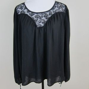 Rue21 Blouse Pullover Black L Long Sleeve Lace
